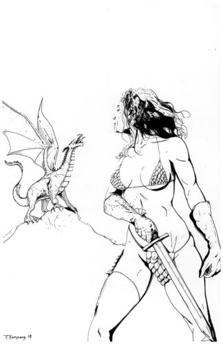 Red Sonja vs. Dragon